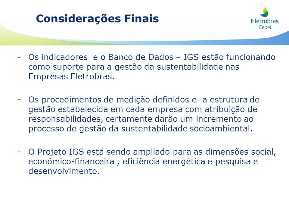Considerações Finais -Os indicadores e o Banco de Dados – IGS estão funcionando como suporte para a gestão da sustentabilidade nas Empresas Eletrobras