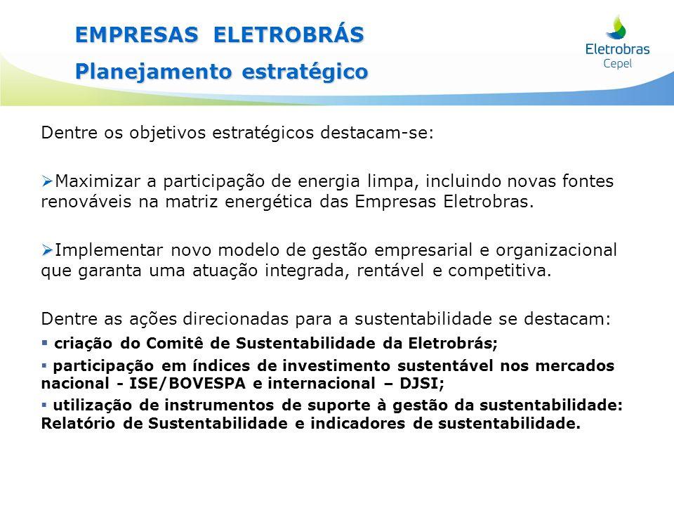 EMPRESAS ELETROBRÁS Planejamento estratégico Dentre os objetivos estratégicos destacam-se: Maximizar a participação de energia limpa, incluindo novas