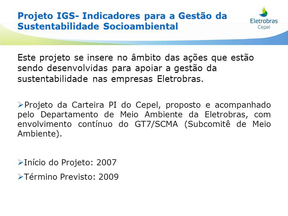 Projeto IGS - Objetivos Projeto IGS - Objetivos Objetivos gerais: Objetivos gerais: – –Apoiar a gestão da sustentabilidade socioambiental das Empresas Eletrobrás.
