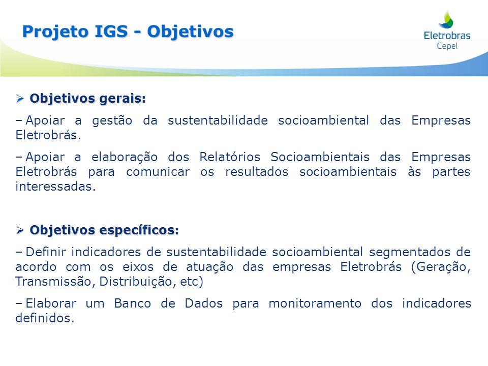 Projeto IGS - Objetivos Projeto IGS - Objetivos Objetivos gerais: Objetivos gerais: – –Apoiar a gestão da sustentabilidade socioambiental das Empresas