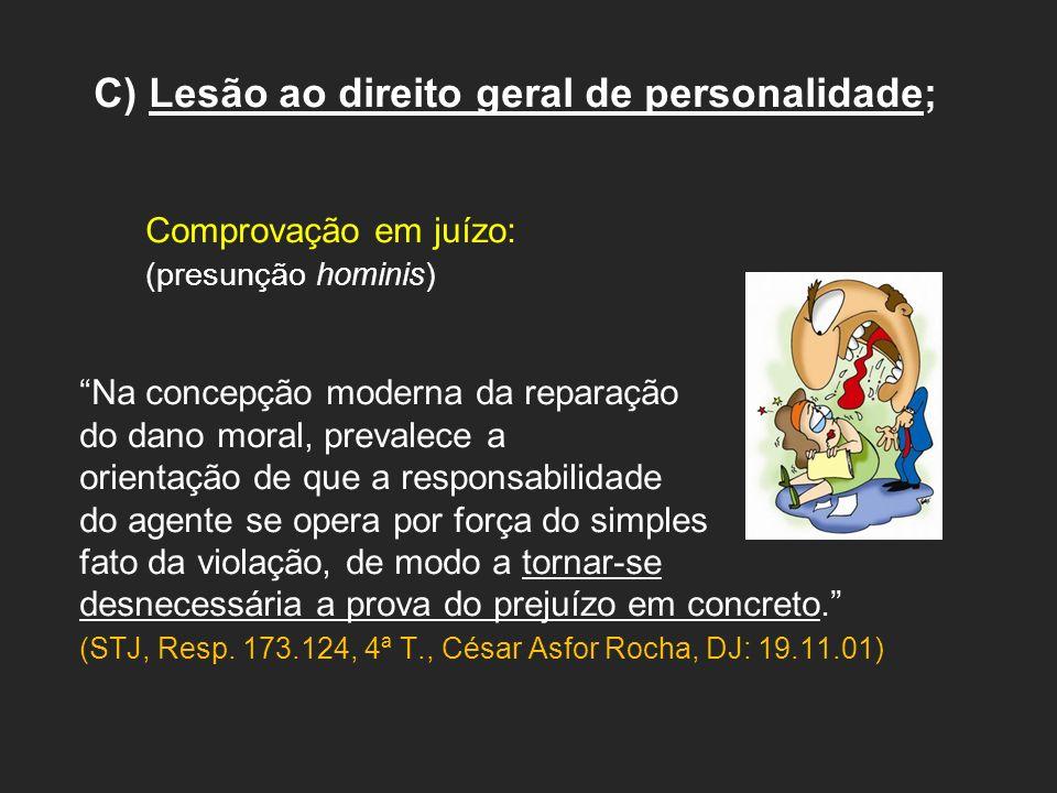 C) Lesão ao direito geral de personalidade; Comprovação em juízo: (presunção hominis) Na concepção moderna da reparação do dano moral, prevalece a ori