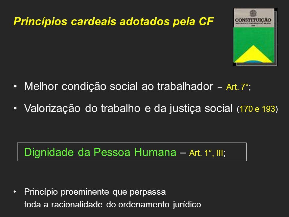 Princípios cardeais adotados pela CF Melhor condição social ao trabalhador – Art. 7°; Valorização do trabalho e da justiça social (170 e 193) Dignidad