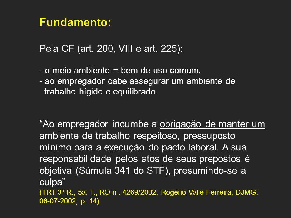 Fundamento: Pela CF (art. 200, VIII e art. 225): - o meio ambiente = bem de uso comum, - ao empregador cabe assegurar um ambiente de trabalho hígido e