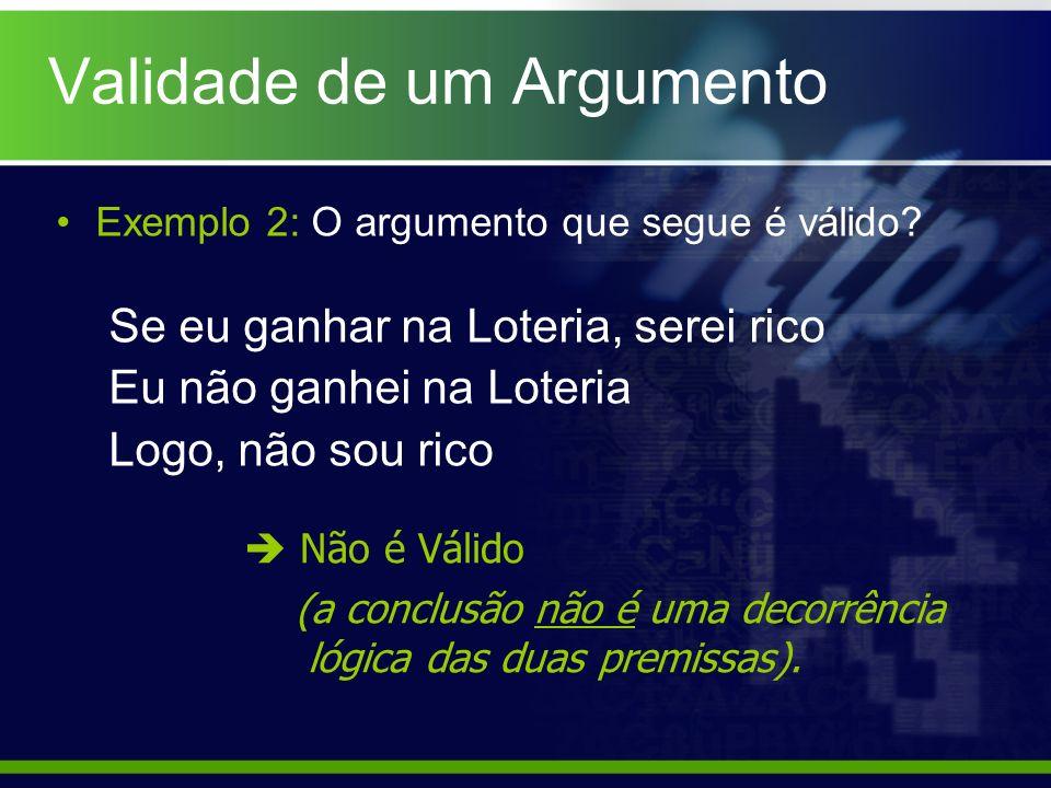 Exemplo 2: O argumento que segue é válido? Se eu ganhar na Loteria, serei rico Eu não ganhei na Loteria Logo, não sou rico Não é Válido (a conclusão n