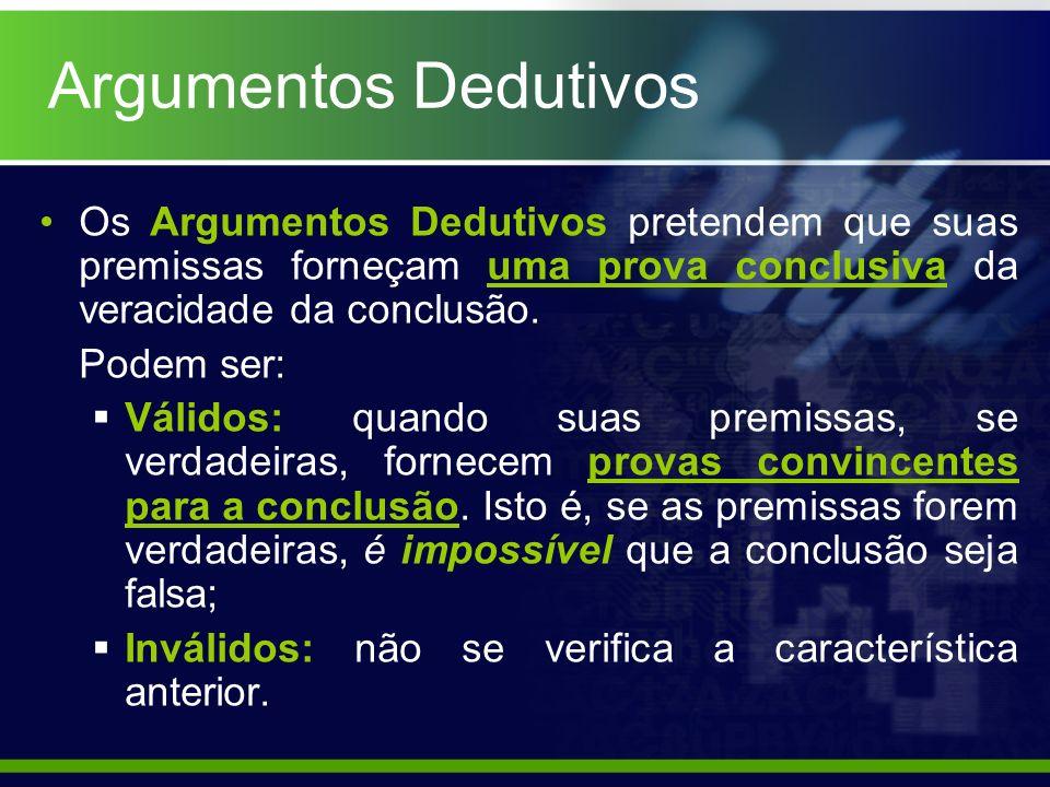 Argumentos Dedutivos Os Argumentos Dedutivos pretendem que suas premissas forneçam uma prova conclusiva da veracidade da conclusão. Podem ser: Válidos