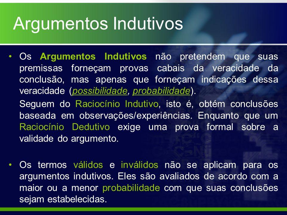 Argumentos Indutivos Os Argumentos Indutivos não pretendem que suas premissas forneçam provas cabais da veracidade da conclusão, mas apenas que forneç