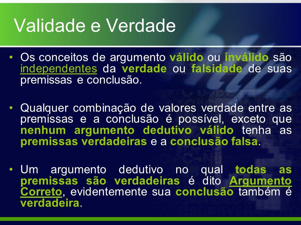 Os conceitos de argumento válido ou inválido são independentes da verdade ou falsidade de suas premissas e conclusão. Qualquer combinação de valores v