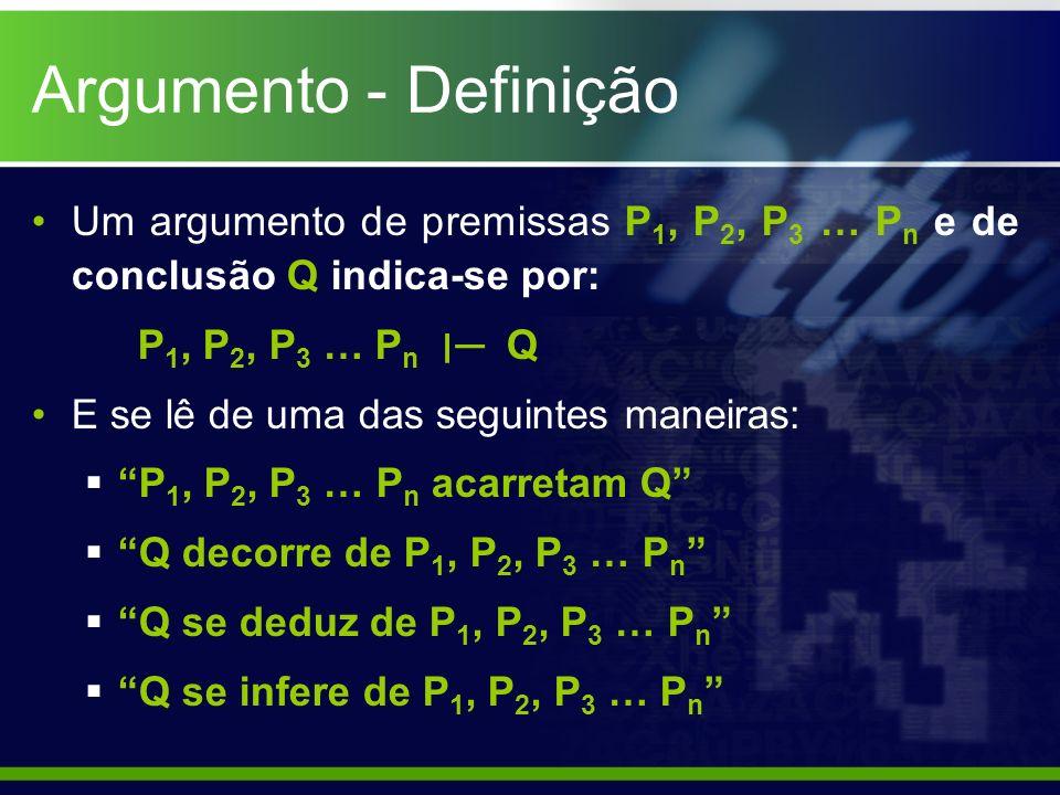 Argumento - Definição Um argumento de premissas P 1, P 2, P 3 … P n e de conclusão Q indica-se por: P 1, P 2, P 3 … P n ׀ Q E se lê de uma das seguint