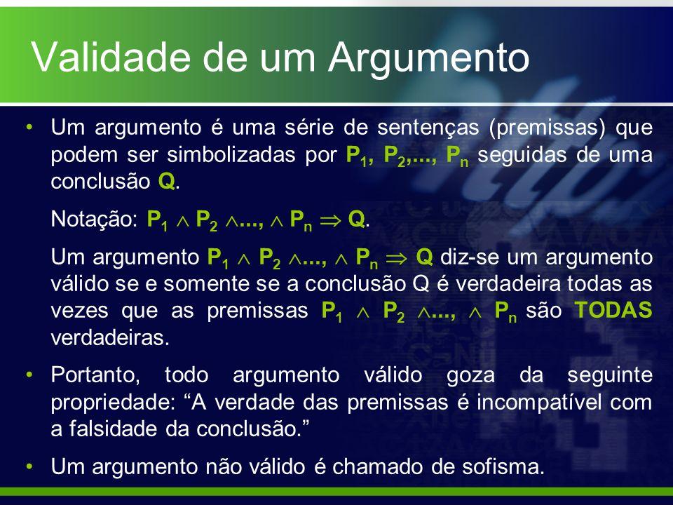Validade de um Argumento Um argumento é uma série de sentenças (premissas) que podem ser simbolizadas por P 1, P 2,..., P n seguidas de uma conclusão