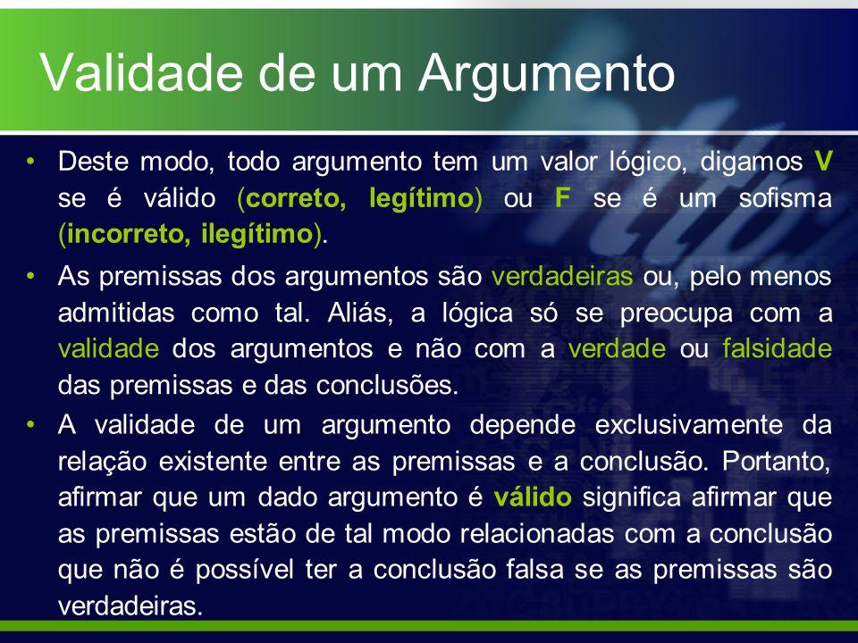 Validade de um Argumento Deste modo, todo argumento tem um valor lógico, digamos V se é válido (correto, legítimo) ou F se é um sofisma (incorreto, il