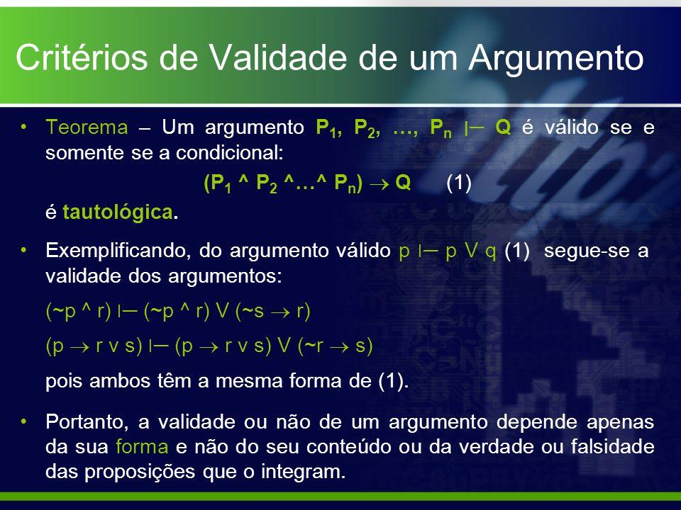 Critérios de Validade de um Argumento Teorema – Um argumento P 1, P 2, …, P n ׀ Q é válido se e somente se a condicional: (P 1 ^ P 2 ^…^ P n ) Q (1) é