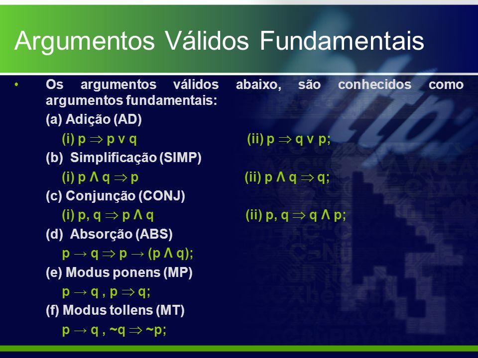 Argumentos Válidos Fundamentais Os argumentos válidos abaixo, são conhecidos como argumentos fundamentais: (a) Adição (AD) (i) p p ν q (ii) p q ν p; (
