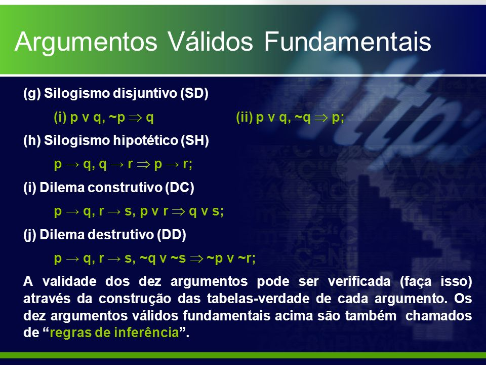 Argumentos Válidos Fundamentais (g) Silogismo disjuntivo (SD) (i) p ν q, ~p q (ii) p ν q, ~q p; (h) Silogismo hipotético (SH) p q, q r p r; (i) Dilema