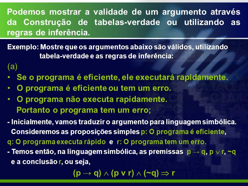 Podemos mostrar a validade de um argumento através da Construção de tabelas-verdade ou utilizando as regras de inferência. Exemplo: Mostre que os argu