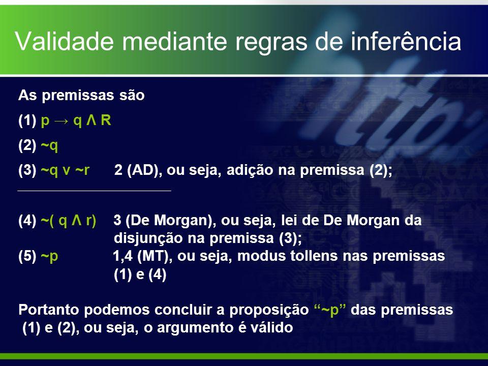 Validade mediante regras de inferência As premissas são (1) p q Λ R (2) ~q (3) ~q ν ~r 2 (AD), ou seja, adição na premissa (2); (4) ~( q Λ r) 3 (De Mo