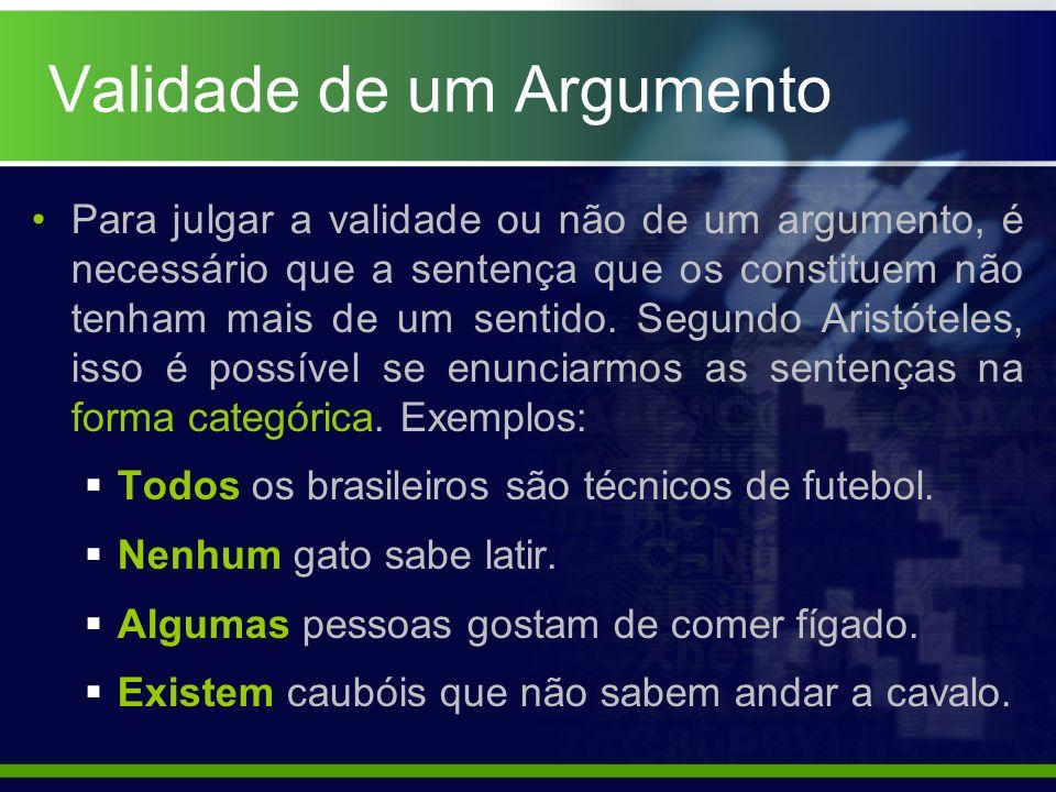 Validade de um Argumento Para julgar a validade ou não de um argumento, é necessário que a sentença que os constituem não tenham mais de um sentido. S