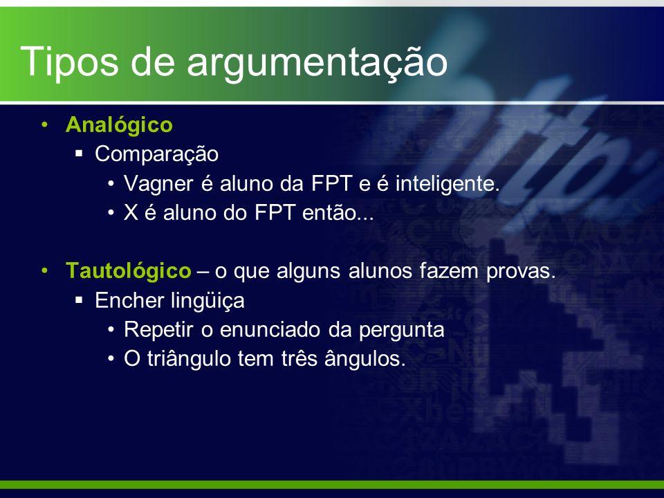 Tipos de argumentação Analógico Comparação Vagner é aluno da FPT e é inteligente. X é aluno do FPT então... Tautológico – o que alguns alunos fazem pr