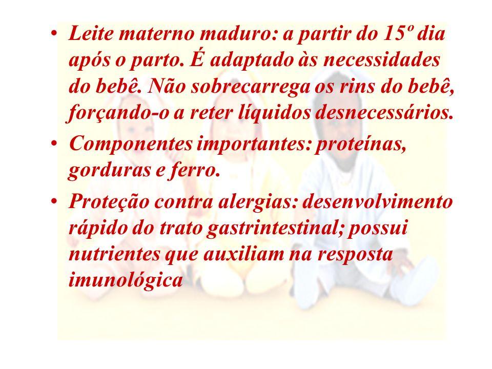 Vantagens do Aleitamento Materno Para a mãe: Diminui o risco de hemorragias pós-parto Nutrizes têm elevada eficiência energética Maior proteção contra câncer de mama e ovário Diminui incidência de depressão pós-parto Mais fácil e mais barato Aumenta o vínculo afetivo Para o bebê: Menor incidência de morte súbita, de resco de diabete, câncer, otite e infecção urinária Capacidade de combater doenças mais facilmente Menores problemas ortodônticos e de fono.