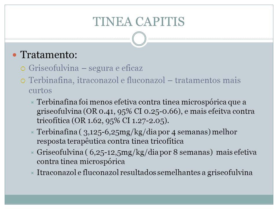 TINEA CAPITIS Tratamento: Griseofulvina – segura e eficaz Terbinafina, itraconazol e fluconazol – tratamentos mais curtos Terbinafina foi menos efetiv