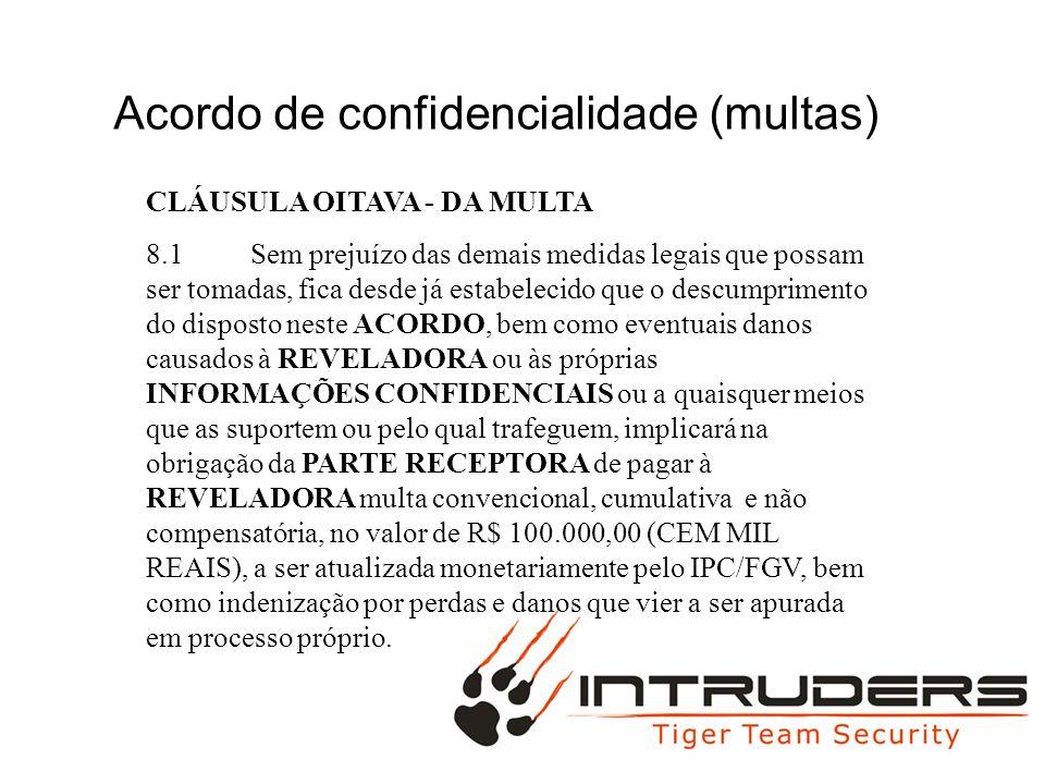 FULL MAC Acordo de confidencialidade (multas) CLÁUSULA OITAVA - DA MULTA 8.1Sem prejuízo das demais medidas legais que possam ser tomadas, fica desde