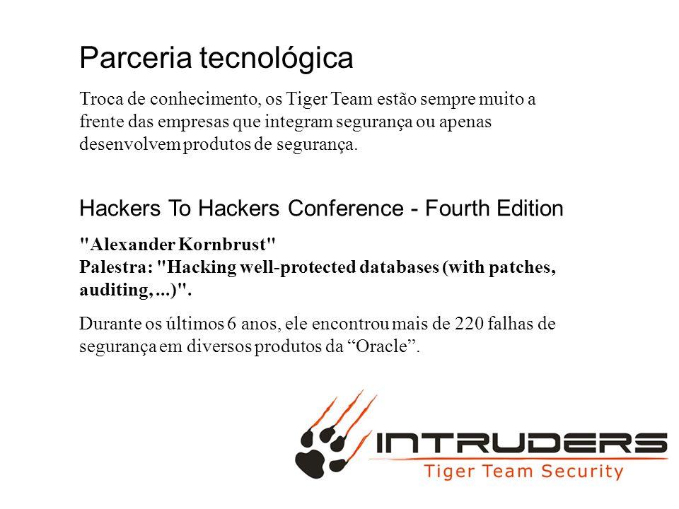 Parceria tecnológica Troca de conhecimento, os Tiger Team estão sempre muito a frente das empresas que integram segurança ou apenas desenvolvem produt