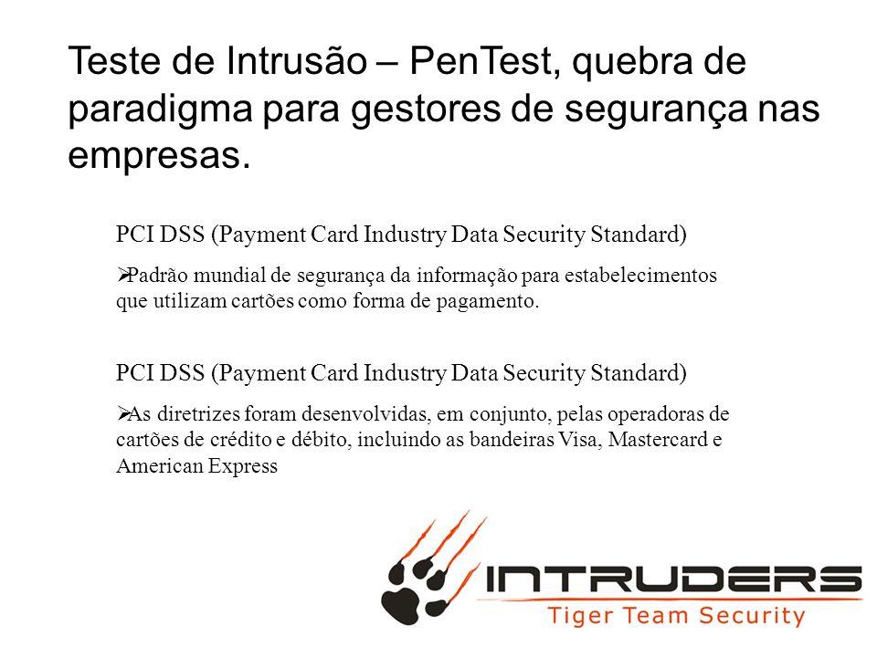 PCI DSS (Payment Card Industry Data Security Standard) Exigência 11: Teste regularmente os sistemas e os processos de segurança.