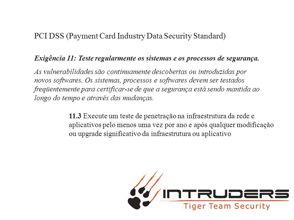 PCI DSS (Payment Card Industry Data Security Standard) Exigência 11: Teste regularmente os sistemas e os processos de segurança. As vulnerabilidades s