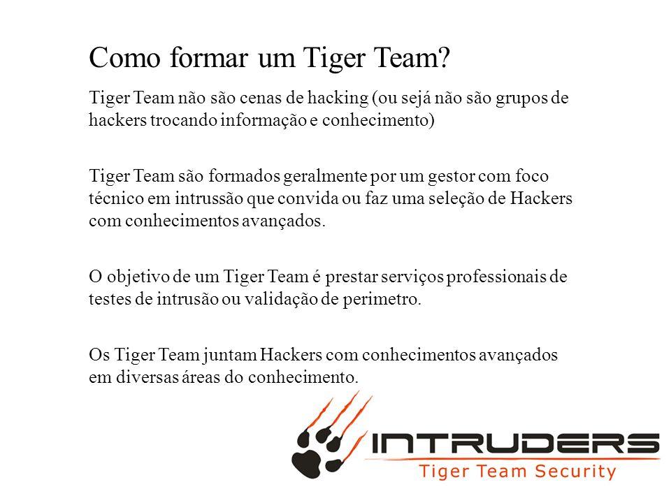 MAC BURGUER Como formar um Tiger Team? Tiger Team não são cenas de hacking (ou sejá não são grupos de hackers trocando informação e conhecimento) Tige