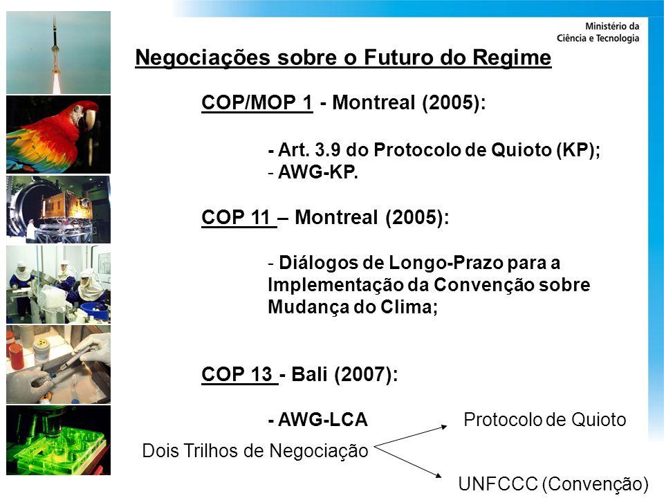 Negociações sobre o Futuro do Regime COP/MOP 1 - Montreal (2005): - Art. 3.9 do Protocolo de Quioto (KP); - AWG-KP. COP 11 – Montreal (2005): - Diálog