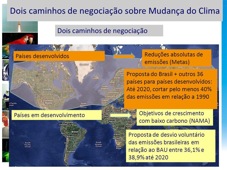 Países desenvolvidos Países em desenvolvimento Reduções absolutas de emissões (Metas) Dois caminhos de negociação Objetivos de crescimento com baixo carbono (NAMA) Proposta do Brasil + outros 36 países para países desenvolvidos: Até 2020, cortar pelo menos 40% das emissões em relação a 1990 Dois caminhos de negociação sobre Mudança do Clima Proposta de desvio voluntário das emissões brasileiras em relação ao BAU entre 36,1% e 38,9% até 2020