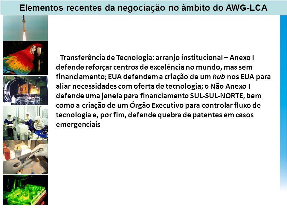 Elementos recentes da negociação no âmbito do AWG-LCA - Transferência de Tecnologia: arranjo institucional – Anexo I defende reforçar centros de excel
