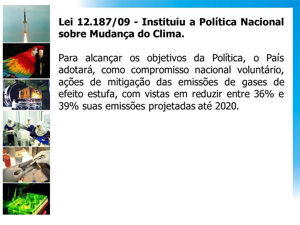 Lei 12.187/09 - Instituiu a Política Nacional sobre Mudança do Clima. Para alcançar os objetivos da Política, o País adotará, como compromisso naciona