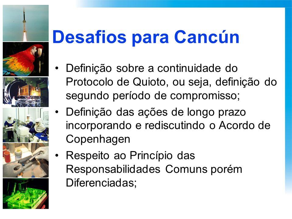 Desafios para Cancún Definição sobre a continuidade do Protocolo de Quioto, ou seja, definição do segundo período de compromisso; Definição das ações de longo prazo incorporando e rediscutindo o Acordo de Copenhagen Respeito ao Princípio das Responsabilidades Comuns porém Diferenciadas;