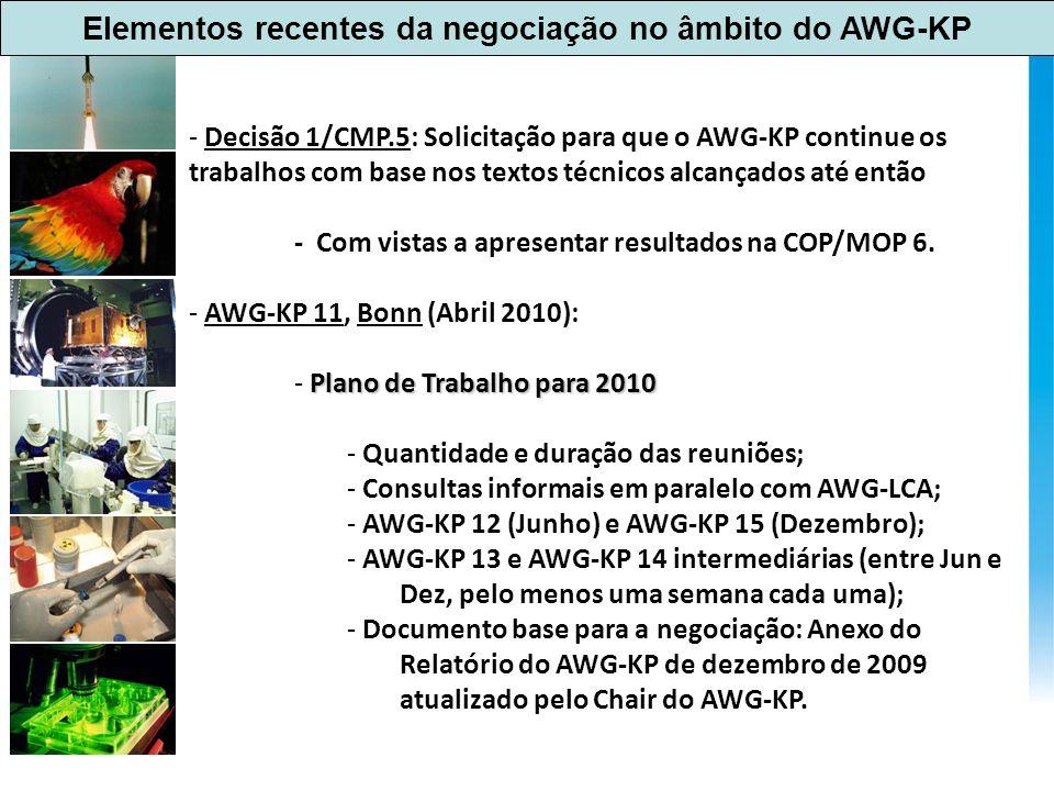 Elementos recentes da negociação no âmbito do AWG-KP - Decisão 1/CMP.5: Solicitação para que o AWG-KP continue os trabalhos com base nos textos técnicos alcançados até então - Com vistas a apresentar resultados na COP/MOP 6.