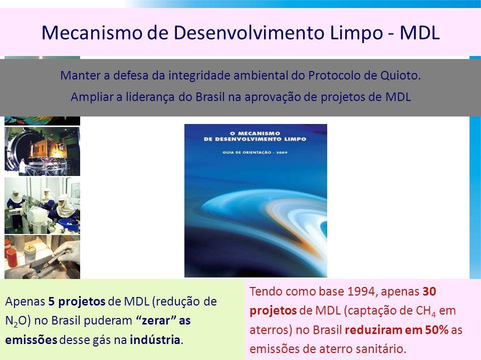 Mecanismo de Desenvolvimento Limpo - MDL Apenas 5 projetos de MDL (redução de N 2 O) no Brasil puderam zerar as emissões desse gás na indústria.