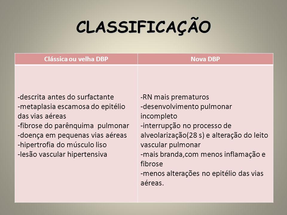 CLASSIFICAÇÃO Clássica ou velha DBPNova DBP - descrita antes do surfactante -metaplasia escamosa do epitélio das vias aéreas -fibrose do parênquima pu