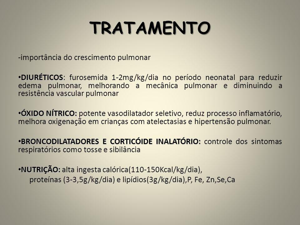TRATAMENTO -importância do crescimento pulmonar DIURÉTICOS DIURÉTICOS: furosemida 1-2mg/kg/dia no período neonatal para reduzir edema pulmonar, melhor
