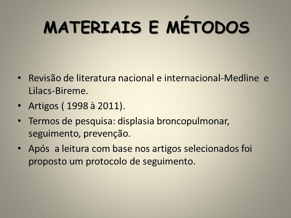 MATERIAIS E MÉTODOS Revisão de literatura nacional e internacional-Medline e Lilacs-Bireme. Artigos ( 1998 à 2011). Termos de pesquisa: displasia bron