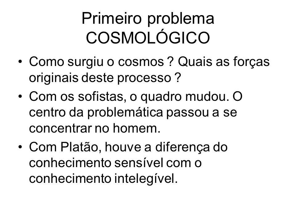 Primeiro problema COSMOLÓGICO Como surgiu o cosmos ? Quais as forças originais deste processo ? Com os sofistas, o quadro mudou. O centro da problemát