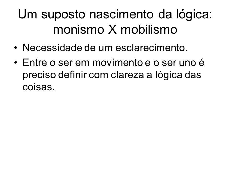 Um suposto nascimento da lógica: monismo X mobilismo Necessidade de um esclarecimento. Entre o ser em movimento e o ser uno é preciso definir com clar