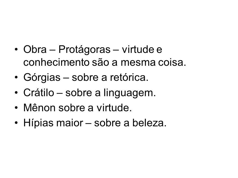 Obra – Protágoras – virtude e conhecimento são a mesma coisa. Górgias – sobre a retórica. Crátilo – sobre a linguagem. Mênon sobre a virtude. Hípias m