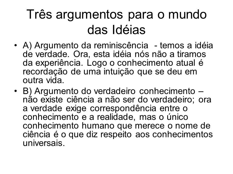 Três argumentos para o mundo das Idéias A) Argumento da reminiscência - temos a idéia de verdade. Ora, esta idéia nós não a tiramos da experiência. Lo