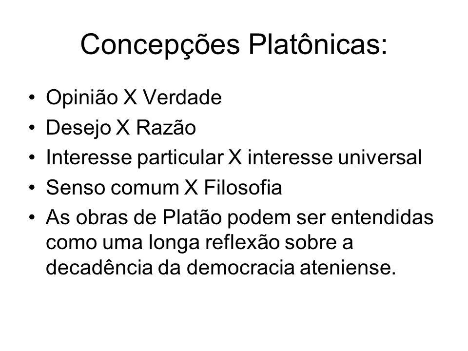 Concepções Platônicas: Opinião X Verdade Desejo X Razão Interesse particular X interesse universal Senso comum X Filosofia As obras de Platão podem se