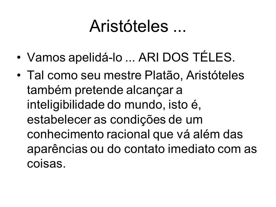 Aristóteles... Vamos apelidá-lo... ARI DOS TÉLES. Tal como seu mestre Platão, Aristóteles também pretende alcançar a inteligibilidade do mundo, isto é