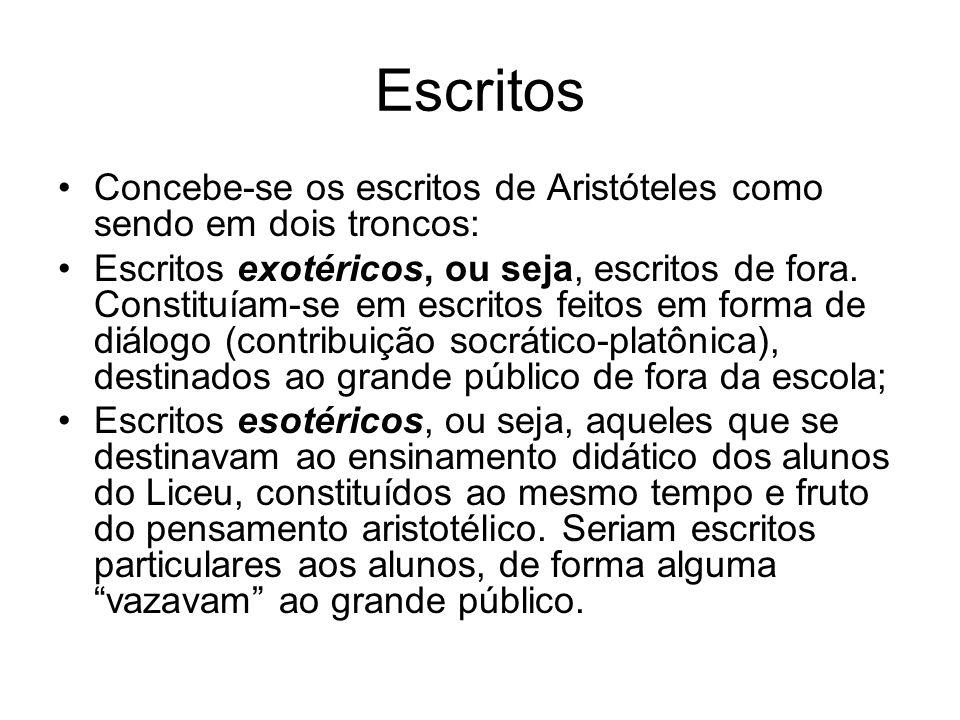Escritos Concebe-se os escritos de Aristóteles como sendo em dois troncos: Escritos exotéricos, ou seja, escritos de fora. Constituíam-se em escritos
