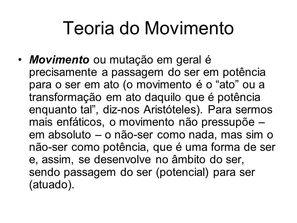 Teoria do Movimento Movimento ou mutação em geral é precisamente a passagem do ser em potência para o ser em ato (o movimento é o ato ou a transformaç