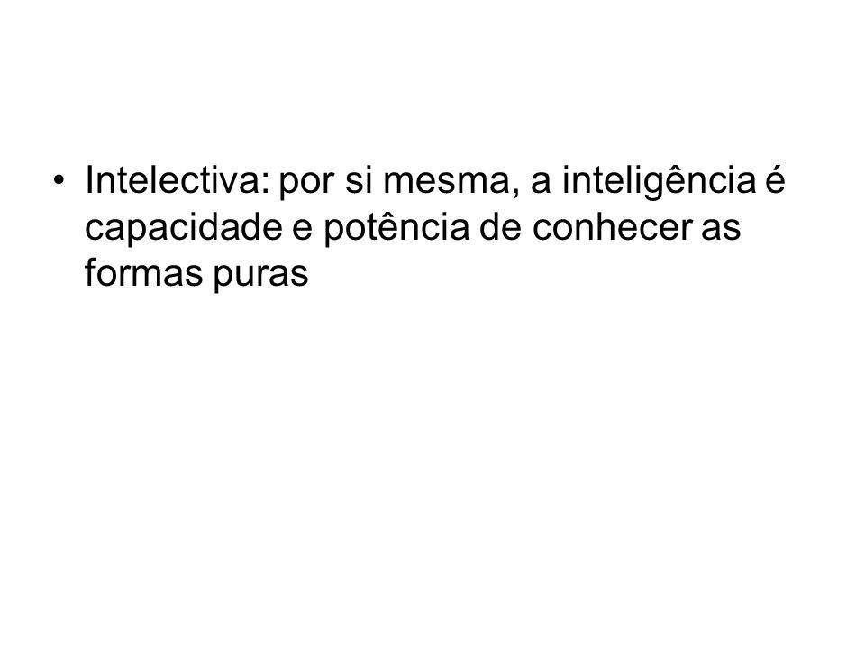Intelectiva: por si mesma, a inteligência é capacidade e potência de conhecer as formas puras