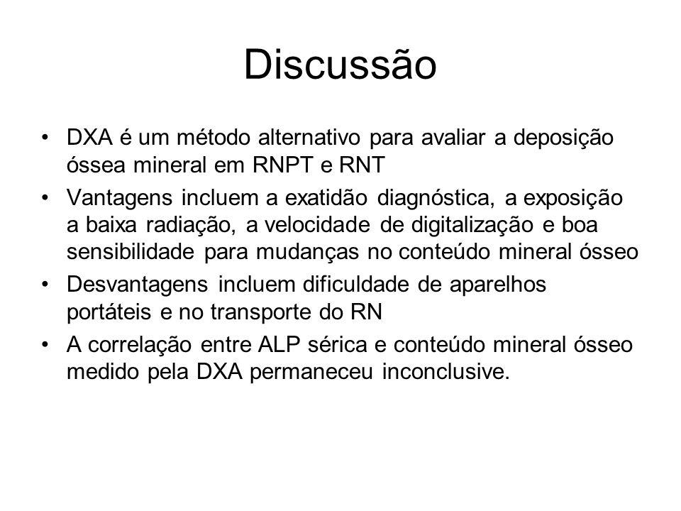 Discussão DXA é um método alternativo para avaliar a deposição óssea mineral em RNPT e RNT Vantagens incluem a exatidão diagnóstica, a exposição a bai