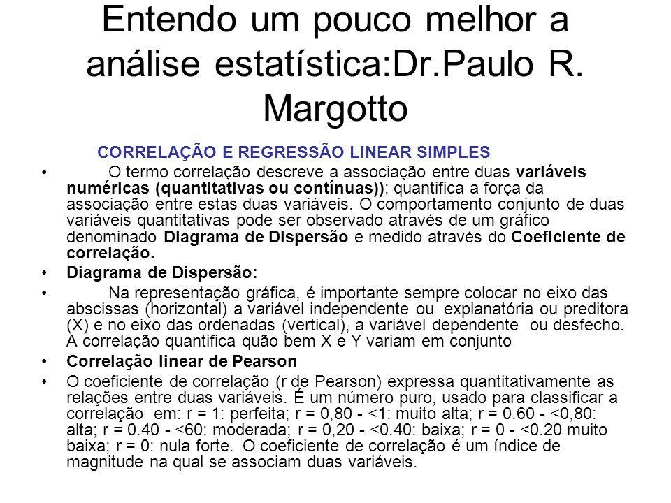 Entendo um pouco melhor a análise estatística:Dr.Paulo R. Margotto CORRELAÇÃO E REGRESSÃO LINEAR SIMPLES O termo correlação descreve a associação entr