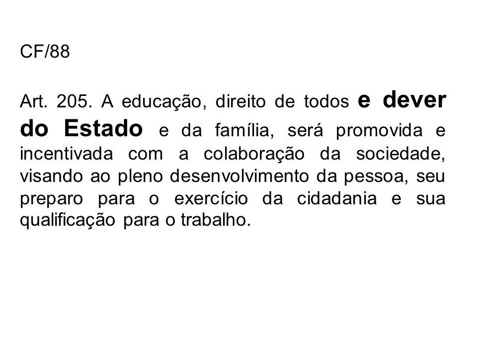CF/88 Art. 205. A educação, direito de todos e dever do Estado e da família, será promovida e incentivada com a colaboração da sociedade, visando ao p
